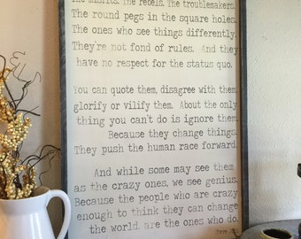 Here's to the crazy ones, Steve Jobs quote, 24x36 frame sign