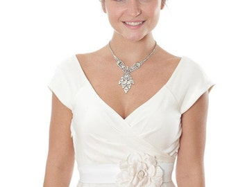 White Leather Bridal Belt With Ivory Flower Handmade Wedding Belt Sash Tonal Cream Off-White Flower One of a Kind 1000263