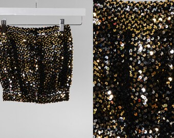 Vintage Sequin Tube Top 1970s 80s Stretchy Going Out Outfit   Metallic Gold Bronze   True Vintage Women's Apparel   Unique Gift   15AM