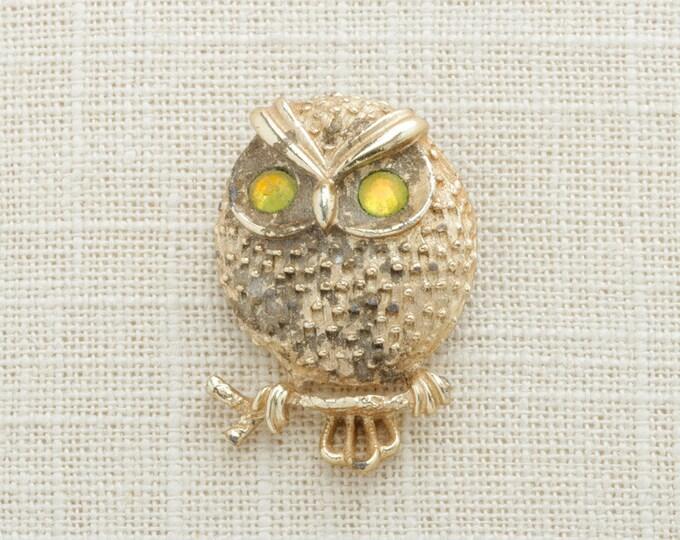 Gold Owl Brooch Vintage Yellow Rhinestone Eyes Sarah Coventry Broach Costume Jewelry | Vtg Pin 16B