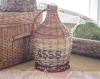 Antique FRENCH Demijohn Bottle, Numbered, Wicker Wrapped, From France