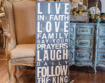 Follow the King Subway Art Sign, Solid Wood, Distressed, Large Size