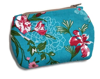 Mini Pink Flowers on Blue Background Zipper Storage Pouch S183