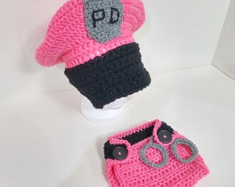 CROCHET PATTERN Newborn Police Hat & Diaper Cover Set P1