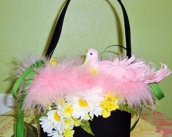 Birdie Feather Handbag, Magical, Whimsical, Fantasy, Designer, Custom, Pink feather BIRDIE, Daisies,  Pink Feathers. Black Satin Purse