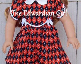Three of a kind Halloween, fall, orange black 1930s, 1940s dress for 18 inch play dolls such as American Girl, Springfield, OG. Made in USA