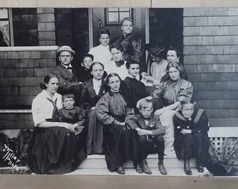 Antique Real Photo Postcard Circa 1910 Family Photos RPPC AZO Womens Fashion Early Twentieth Century Photography  Black and White