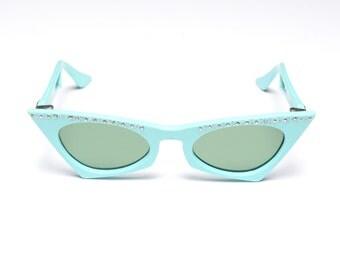 vintage 50s atomic sunglasses Made in USA aqua blue sunglasses cat eye green lens rhinestone 1950 eyewear rockabilly