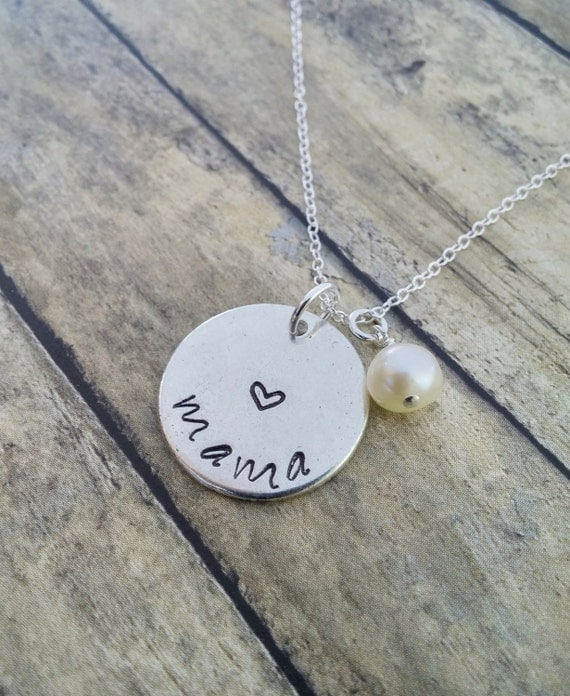 Mama necklace hand stamped necklace for mom mommy for How do you make hand stamped jewelry