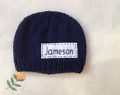 Newborn photo prop, navy blue newborn hat, personalized newborn hat with name, newborn boy, monogram baby hat, , name beanie, newborn hats