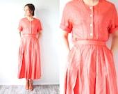 Vintage retro red striped two piece dress // 1960's dress // modest candy striper dress // nautical dress // XS dress // mod striped skirt