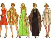 1970s Dress and Float Caftan Dress Bust 42 Size 20 Uncut 70s Vintage Sewing Pattern McCalls 3413 Dress