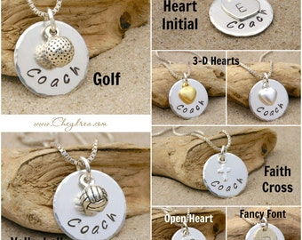 COACH GIFT, Coach Necklace, Volleyball Coach Necklace, Golf Coach Necklace,  Thank you Coach Gift, Team Sports Gift Ideas, Sterling Silver