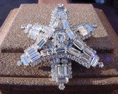 Art Deco Crystal Baguette Snowflake Fancy Vintage Brooch