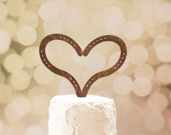 Horseshoe Heart Cake Topper Rustic Wedding Cake Topper Wood Cake Topper