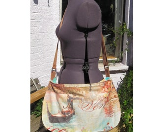 large Venice bag  one of a kind. polka dot lining zip top canvas effect cotton. UK seller