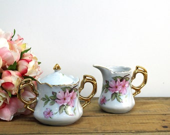 Vintage 1980s Lefton cream and sugar set 07242 - hand painted pink dogwoods - white and gold china - vintage tea party set