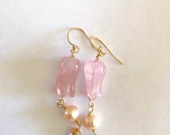 Rosequartz flower. Peach pink pearl gold earrings Lilyb444 easter romantic giftsforher