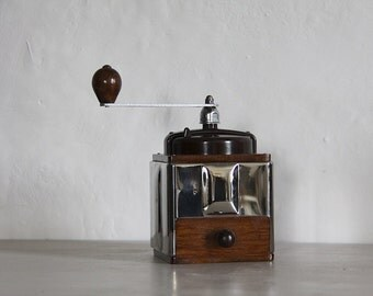 Industrial French Antique Peugeot Coffee Grinder, Coffee Mill, Loft Decor Stainless Steel & Bakelite