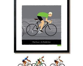 PERSONALISED Bike Art Print, Customised Green Jersey Cyclist, Cycling Gift for Him