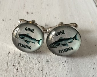 GONE FISHING CUFFLINKS / Fisherman cuff links / Fish / gift for outdoorsman / Groomsmen Gift / Gift for him under 20 dollars / Gift boxed