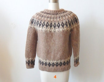 Hand Knit Icelandic Wool Pullover Sweater Sz S