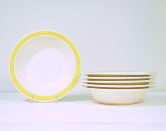 Vintage Cereal Bowls USA Pottery Yellow Band Complete Set of Six * Mint Condition *