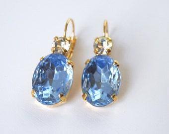Sky Blue Rhinestone Earrings, Light Blue Crystal, Bridal Earring, Light Sapphire Bridesmaid, Blue Wedding Earring, Baby Blue Regency Jewelry