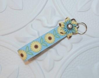 Key Fob - Key Chain - Fabric Key Fob - Key Fob Wristlet - Sunflowers