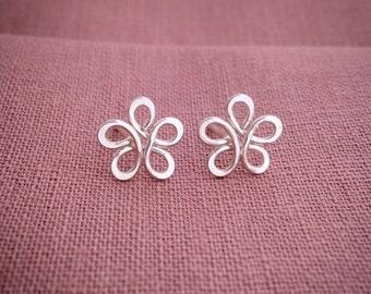 Argentium Silver Post Earrings, Flower Studs