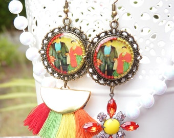 Frida Kahlo Mismatched Resin Earrings - Mexican Art - Colorful - Diego Riviera - Rhinestone Cross - Summer Trends - Gift Ideas - For Her