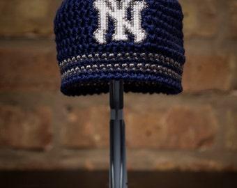 New York Yankees Inspired Crocheted Baseball Cap (Newborn-Toddler sizes) (Made to Order)