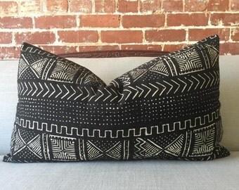 Onyx Aztec Mud Cloth Pillow w/ down insert - #1