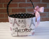 Pink, Black, Silver, and White Paris Eiffel Tower Fabric Easter Basket - Made to Order - Personalization Included-Great Gift Basket