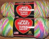 Two Balls Red Heart Super Saver Medium Worsted Yarn Lot 6730 Sherbet Print Pink Purple Yellow Green White 100% Acrylic 236 Yd / Total 472 Yd