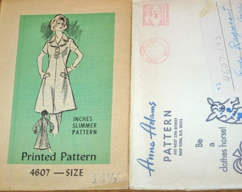 Anne Adams Inches Slimmer A-Line Dress, Women's Misses Vintage 1970s Mail Order Sewing Pattern 4607 Half Size Bust 37 Uncut Factory Folds
