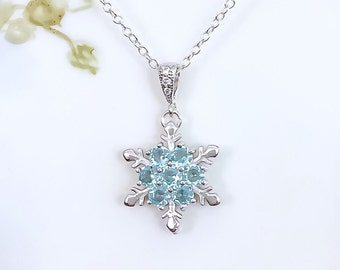 Snowflake Necklaces - Sale- Aquamarine Blue Necklace, March Birthstone Christmas Gift Idea, Prom, Winter Wedding, Women's Necklace, Mom Gift