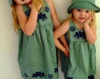Frog Dress, Girls Green Summer Dress