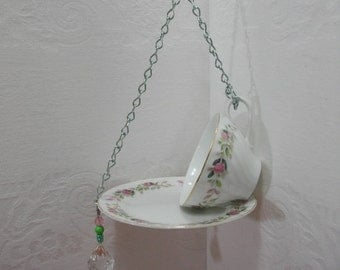 China Bird Feeder / Recycled Vintage Mismatched China Bird Feeder / Creative Fine China Bird Feeder /  Teacup Bird Feeder /  Garden Art