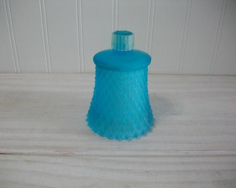 Home Interiors Vintage Blue Frosted Glass Diamond Cut Candle Cup for a Candle Holder