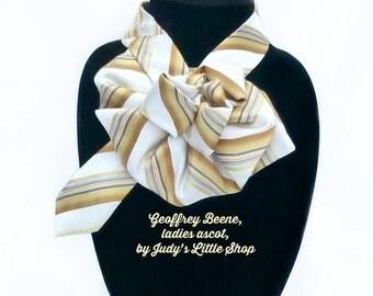 Geoffrey Beene Silk Necktie Ladies Necktie Scarf, Upcycled Tie Scarf, OOAK Accessory Ascot Scarflette, Striped Silk Collar, Necktie Necklace