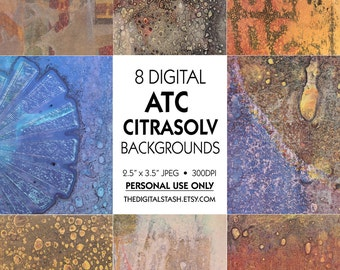 ATC Citrasolv Abstract Backgrounds - 8 Digital 2.5 x 3.5 Papers - INSTANT DOWNLOAD for Scrapbooking, Artist Trading Cards, Collage, Journals