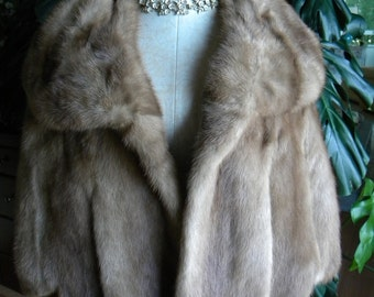 Golden brown mink fur cape / stole / wedding