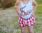 Girls Freedom, American, July 4th Shorties, Baby Bloomer & Toddler Bubble Short - Red/White Gingham
