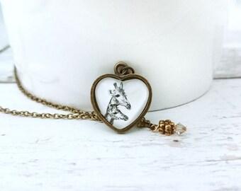 Giraffes Necklace - Handdrawn Giraffes Pendant, Heart Shaped Necklace