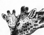 Blank Greeting Card Hand Drawn Giraffe and Mother