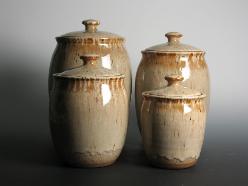 canister set pottery stoneware kitchen canisters kitchen canister set stoneware pottery
