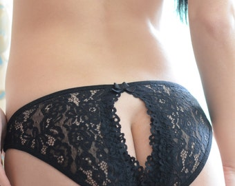 Women Sleepwear & Intimates Panties Handmade Lingerie The Blooming Black Rose  Panties  MADE TO ORDER