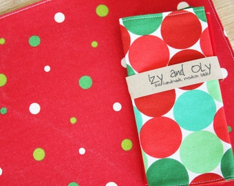 Holiday Lunchbox Napkins - Red and Green Big Dots - Set of 2 Reversible Small Sized Napkins