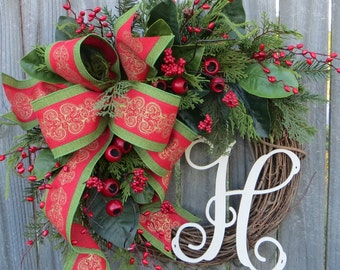 Christmas Wreath, Red Green Gold Christmas Wreath, Magnolia and Berry Wreath, Natural Elegance Christmas Wreath with Monogram, Housewarming